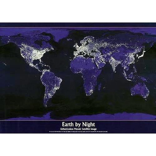 Night time image of earth light pollution