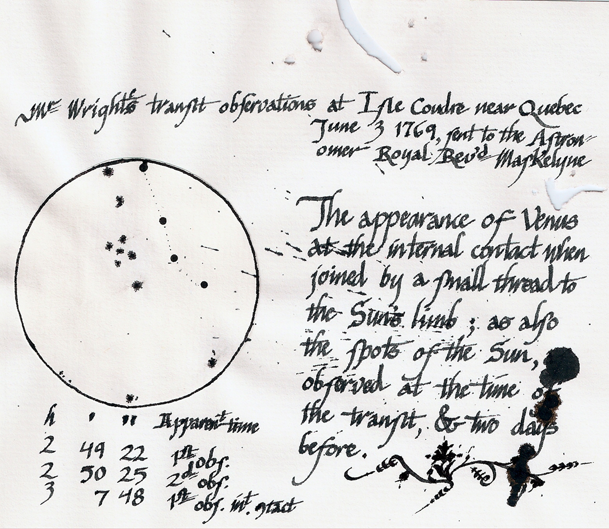 Thomas Wright's 1769 transit observations at Île aux Coudres, Lower Canada