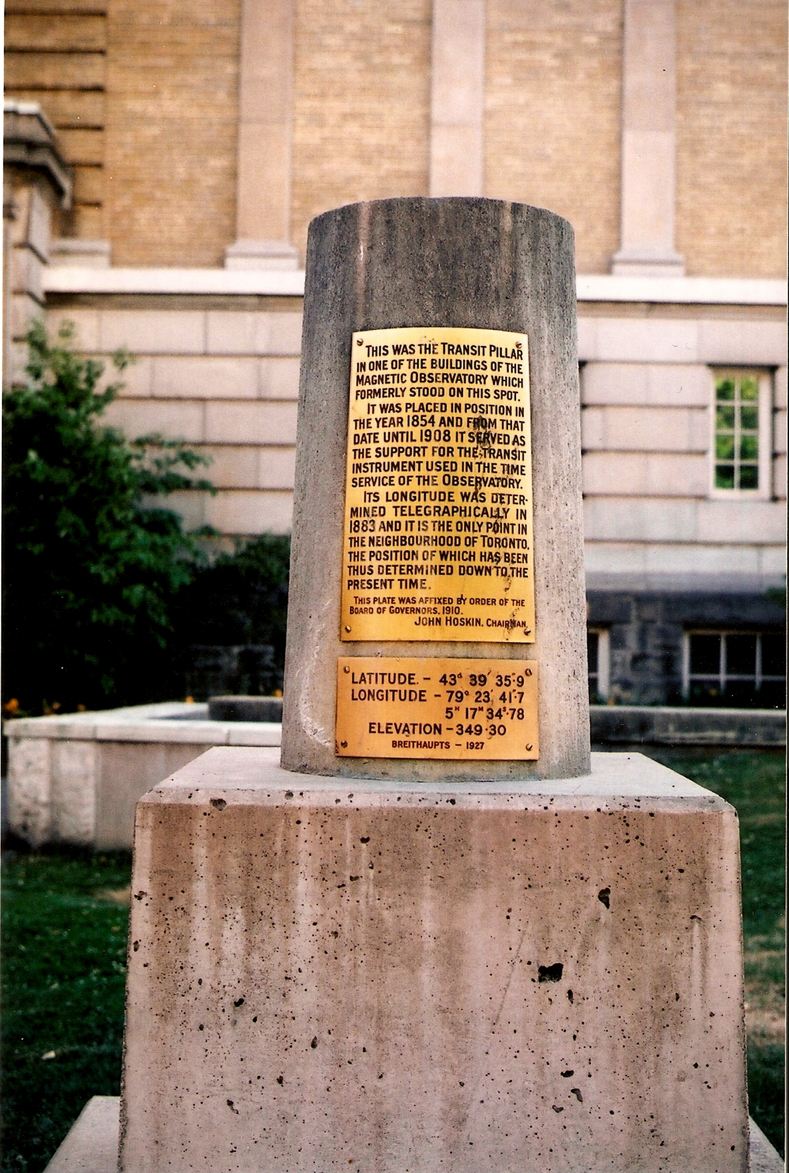 Original Transit Pillar Marking the 1882 Site of the Toronto Magnetic and Meteorological Observatory