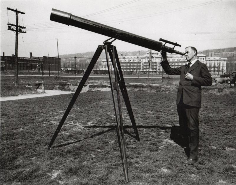 Herbert Asbury and 6-inch refractor (ca. 1930)