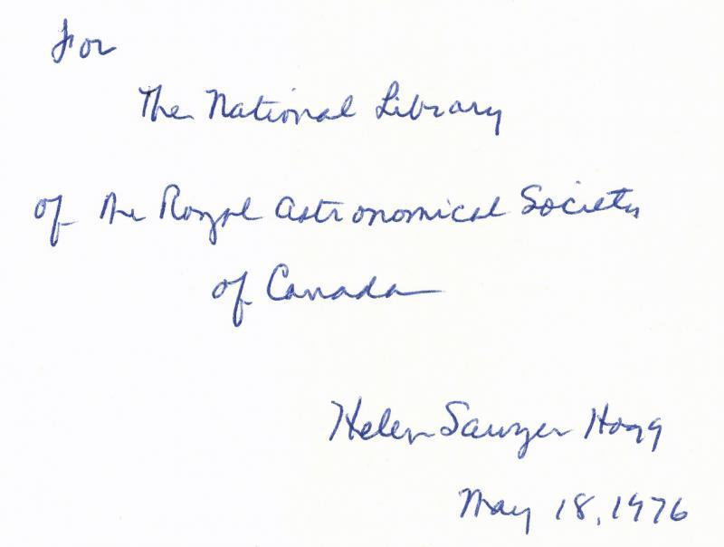 Helen Sawyer Hogg Autograph
