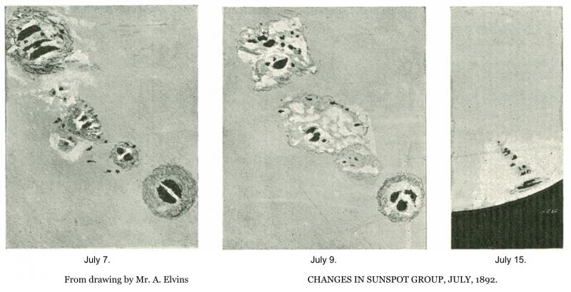 Sunspot Sketches 1892